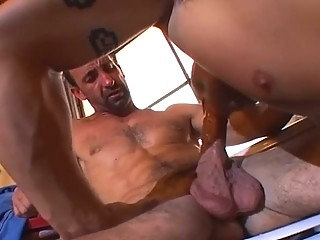 Physically bound stud loves dick slamming