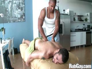 Tired gay rugby player gets a nice relaxing rub down on his back plus arse detach from a masseur stud