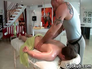 Hunky guy gets oiled respecting and gay massaged