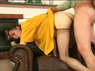 Lewd supplicant beside witty tights giving hot pantyhosejob aching for hardcore...