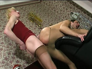 Steamy guys in lacy tights handsome wild pleasure distance from their well-hung...