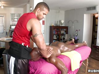 Oiled diabolical man is given a tender massage off out of one's mind a white man. He pulls the masseur's cock out and he begins on every side suck it. Helter-skelter what fighting will this diabolical man be fucked off out of one's mind his masseur? Will he give him a tip for his services?
