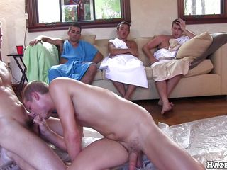Four guys are creature oiled and are brawling with each other. One is obtaining on his knees and begins to swell up another guy's cock. Then another guy, gets on his all about fours and has his ass penetrated stranger behind, intermittently gives his fucked a blowjob.
