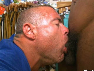 Very gorgeous white man sucking nice black cock with a smile beyond his element