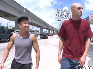 Short Asian dude fucks a consequential bald whitey out on touching public