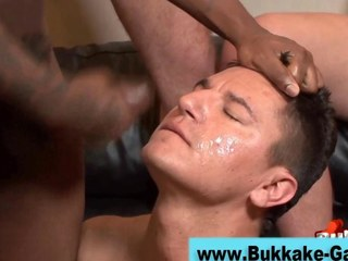 Stud upstairs his knees sprayed with cum