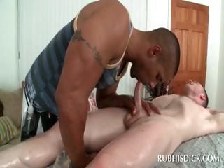 Interracial blowjob with blithe dudes