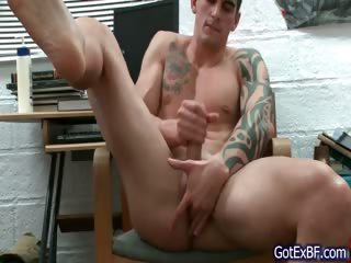 Amazing muscled with an increment of tattoed brick wanking
