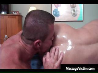 Busty hot bodied guy gets oiled for gay