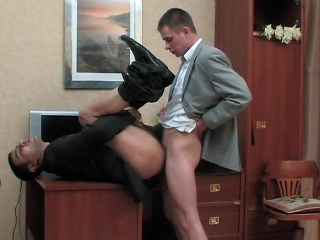 Kinky co-worker added to his gay chief honcho having cock-break limitation hard working...