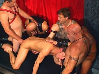 Leather daddies bandeau banging brad benton...