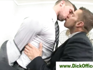 Duo delighted businessmen french kissing