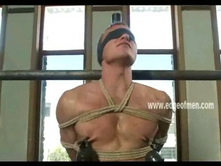Submissive gay guy has his nipples clamped while he is blindfolded together with teased