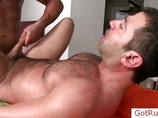 Hairy dude getting anus fucked hard