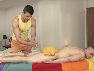 Hunk is pounding stud's anal during Rabelaisian massage