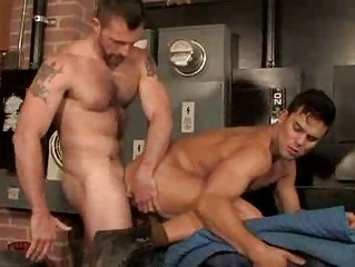Hairy Muscle Studs Quickie Anal Fucking Session