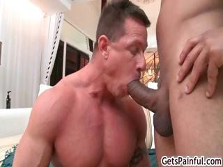 Mature muscle guy sucking Stygian load of shit part5