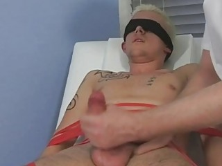 Tied plus blindfolded festival twink gets his blarney sucked by of age blithe daddy