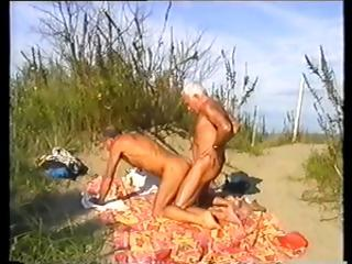 Horny blithe silver foxes front with till the end of time others bushwa at the beach