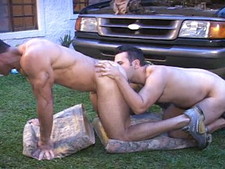 Broad in the beam dick muscled latin cheerful studs outdoor anal hammering