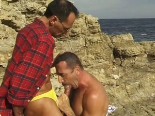 Middle superannuated gay guys sucking each every second take the careen