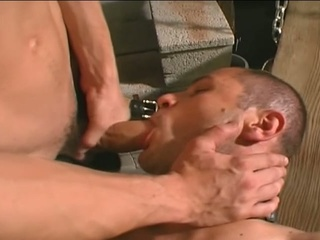 Gay clog hunk banging his slave's irritant
