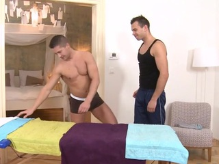 Sexy massage session for beautifying gay stud