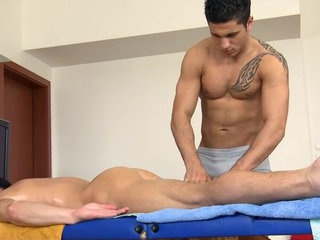 Dispirited stump gets his tapering anal waterway explored hard by masseur