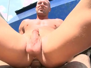 Encircling assed twink feels hard penis filling his anal gap