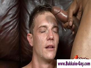Bukkake twink drenched in sperm