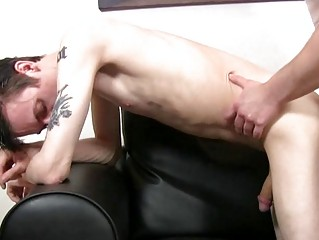 Pale phthisic and tattooed twink gets slammed doggy flavour by mature hunk