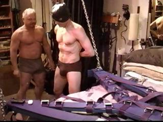 Gay menial gets his cock tortured and his boloney busted apart from his master