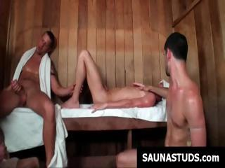 Well-pleased twink decides fro push fro rub-down the sauna and ends all round in the air a gay triad