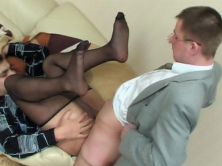 Sex-addicted co-workers respecting slight shine veil tights having cock-break in...