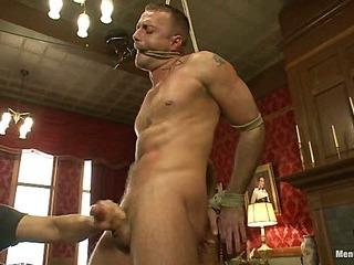 Porn superstar Jessie Colter gets bound, gagged increased by edged until he begs to cum.