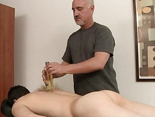 Wizened homosexual gets his hard cock oiled plus massaged