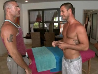 Massaging his taut ransack and huge dick