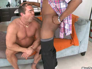 Mature man is sucking a long chocolate shaft and titbits his cum!