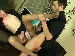 Kinky sissy guy getting down to frantic a-hole-fucking thrill in someone's skin office