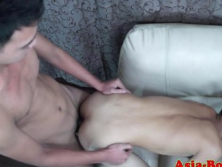 Gay Asian twink gets his ass slammed real unchanging