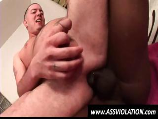 Horny white gay twink rides a changeless black cock in his available ass
