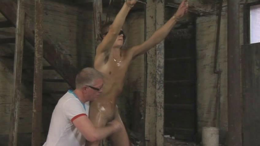 Tanned gay house-servant gets tied with the addition of gets his cannon distressing pleasurable