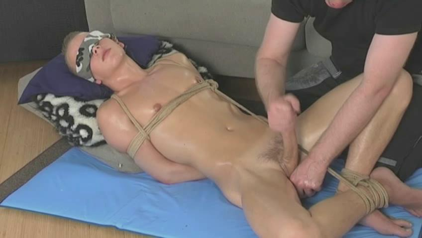Tied relating to twink getting his dick stroked