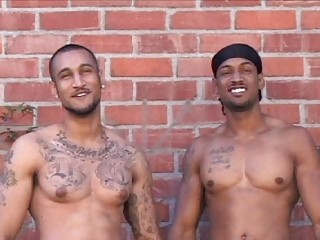Team a few tattooed latin gays posing naked alfresco