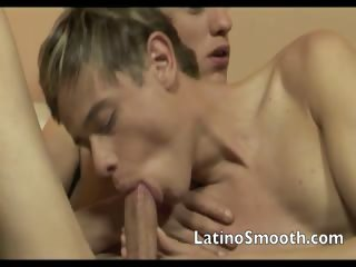 Latino gays in a troika of bore smarting act out and sucking