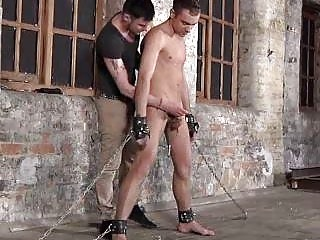 Boys Balls In Chain Gives Blowjob Service