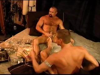 Two gay dudes experiment with burnish apply cock pump and erase thither with long dongs