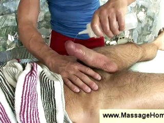 Elated masseur stroking soft tramp