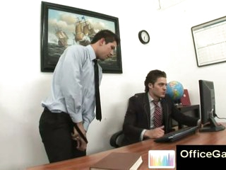 Gay guy caught masturbating at one's fingertips work on office