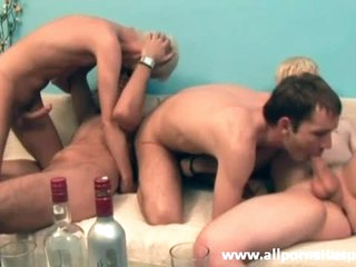 Four cocks sucked in this group video